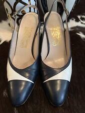 Salvatore Ferragamo Blue Leather Shoe Heel 9 AAAA