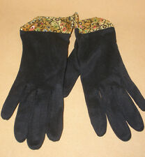 1960's Ladies Black Nylon Gloves w/ Gold Brocade Cuffs - Never Worn