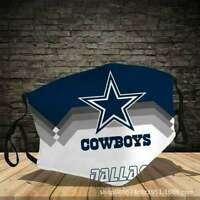 Custom Printed Dallas Cowboys Face Mask NFL Reusable with Filter FREE SHIPPING !