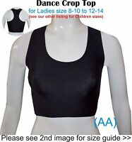 Dance Crop Top Black Girls Ladies Lycra  Gym Ballet Sports Street (AA)