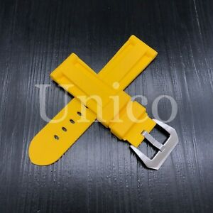 24 MM Yellow Rubber Silicone Strap Band Soft Vintage Replacement Diver 2021 New