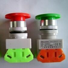 10A Red Green Momentary Emergency Stop Mushroom Pushbutton Switch 22mm Mounting