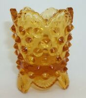 Vintage Fenton Hobnail Art Glass Amber Toothpick Holder