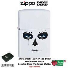 Zippo Skull Mask Lighter, White Matte, Day of the Dead, Classic #28828