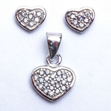 """FOR HER! LOVE Heart Pave Set .925 Sterling Silver Pendant & Earring Set .5"""""""