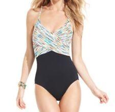 Anne Cole Signature One Piece Swimsuit Sz 12 Black Multi Color Swim Swimwear