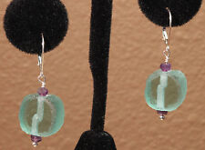 Greenwood Designs Sterling Silver Lever Back Recycled Glass  Amethyst Earrings