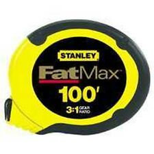 """NEW  STANLEY 34-130 3/8"""" X 100' FOOT FAT MAX SS TAPE MEASURE RULER SALE 2715407"""