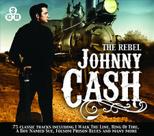 3 CD BOX JOHNNY CASH THE REBEL I WALK THE LINE RING OF FIRE FOLSOM PRISON BLUES