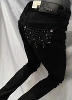 Grace In LA Jean Black Denim Stones Embellishments Skinny Leg JNW5783 24 - 31