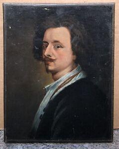 Tableau Ancien Huile Portrait Homme Moustache Chemise blanche XIXe
