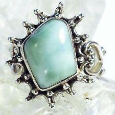 LARIMAR ATLANTIS 10 Ring ECHT 925 Silber Blue Unique Unikat