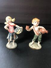 """Vtg Depose Italy Figurine Set 3 And 4 Girl And Boy 4"""" Plastic"""