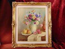 STILL LIFE w/ ROSES Oil on Canvas SUPERB RUSSIAN PAINTING Gilt Gold Frame