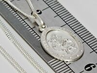 Solid Sterling Silver (925) Oval St Christopher Pendant + 20 inch Silver Chain