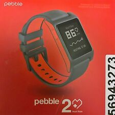 Pebble 2 + Heart Rate Smart Watch for iPhone & Android - Black/Flame (Red)
