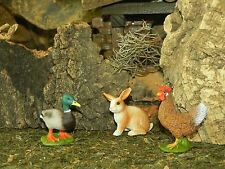 "Rabbit, Drake & Hen Animal Figurines for 5"" Nativity Scene Animales para Pesebre"