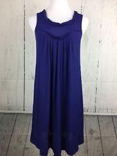 Edme Esyllte Anthropologie Size XS Dress Shift Pleated Sleeveless Blue Chiffon