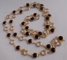 Vintage Signed Swan Swarovski Bezel Set Crystal Necklace Black Clear