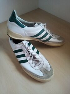 Mens Adidas Jeans White Green Leather Trainers UK 12 EU 47 1/3 Poor Condition