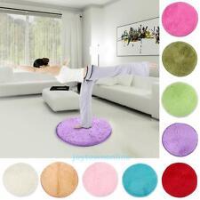 Soft Plush Circle Round Rug Non-Slip Solid Bedroom Mat Washable Floor Carpet