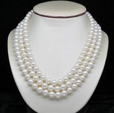 """A++ Natural 3-Strand 6-7MM  White Pearl Necklaces (17""""18""""19"""" )"""
