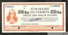 Suriname 50ct Zilverbon NO date Specimen Unc Pn 104s1