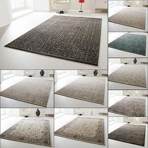 Designer Teppich Modern Dami Wohnzimmerteppich Bordüre Floral Kästchen