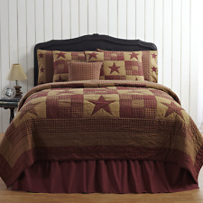 NINEPATCH STAR Luxury King Quilt Primitive Country Rustic Red Burgundy/Tan Plaid