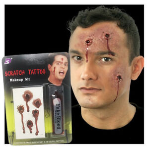 Halloween Fake Blood | Scratch Tattoo Make Up Kit | Zombie Scars | Scary Party |