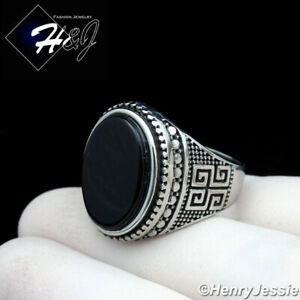 MEN's Stainless Steel Silver Black Oval Onyx Ring Size 8-12*R129