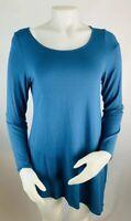 Eileen Fisher Women's Small Blue Long Sleeve Asymmetrical Tee Shirt Top Viscose