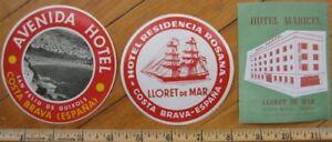 Costa Brava - Espana / Spain THREE Hotel Luggage Labels