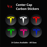 4x TESLA Badge CARBON Center Caps Hub Alloy Rims Wheel Stickers Model 3 S X TM3