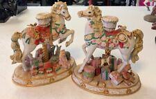 Carousel Christmas Candlestick Porcelain Horse Danbury Mint Pre Owned Set of 2