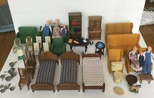 Caco German Dollhouse Doll 2 Families Wooden Felt Home Made Furniture 63 Pieces