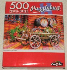 "500 PIECE JIGSAW PUZZLE PUZZLEBUG WOODEN WHEEL CART FLOWERS 18.25"" x 11"""