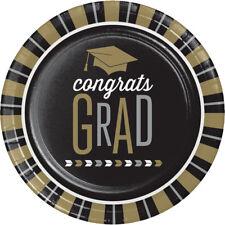 8 x Black & Gold Graduation Paper Party Plates 23cm Graduation Party Tableware