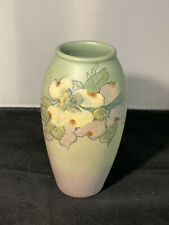 Weller Ware Pottery Vase Green With Flowers McLaughlin-signed