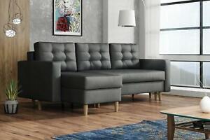 BRAND NEW ANA CORNER SOFA BED Fabric Beige / Brown / Grey / Dark Grey