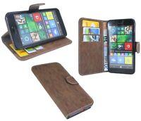 Book-Style Handy Hülle Tasche Etui Cover in Braun für Microsoft Lumia 640 @COFI