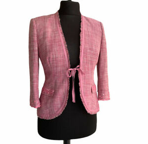 Monsoon Silk Jacket Size 10 Pink Pearlescent Beads Ribbon Wedding Party