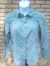 Jones Wear Jeans Women's Button Front Multicolored Striped Shirt (XL)