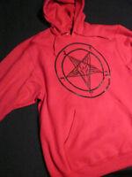 PENTAGRAM Red Pullover Hoodie Occult Evil Satan satanic Clothing Horror satanism