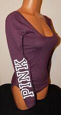 New Victoria's Secret Pink Scoop Neck L/S Black Orchid Body Suit Size L