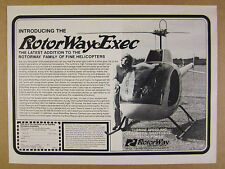 1980 RotorWay EXEC Helicopter photo vintage print Ad