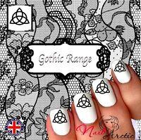 40 x Nail Art Water Transfers Stickers WrapsDecalsMoon Triquetra Wic Witch Goth
