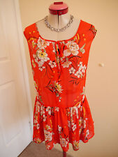 ROMANTIC FLORAL Orange White TOP Size 14 KATIES Peplum Ruffle Peach Black Green