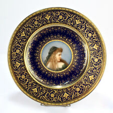 19C E. Wahliss Pirkenhammer Vienna Porcelain HP Cobalt Portrait Cabinet Plate PC