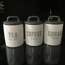 RETRO CANISTERS SET OF 3 CERAMIC TEA COFFEE SUGAR STORAGE JARS CANISTER GLOSSY